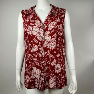 CROFT & BARROW Red White Floral Tank Top 1X